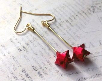 Origami Lucky Star Earrings // Shiny Red