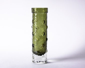 Vintage Finnish Green Textured Glass Vase  - Tamara Aladin  for Riihimaki/ Riihimäen Lasi Oy 60s