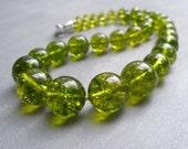 Olive Green Semi Precious Gemstone Graduated Necklace