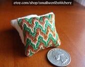 Miniature Dollhouse Pillow - Green, Brown and Gold Bargello/Hungarian Point embroidery