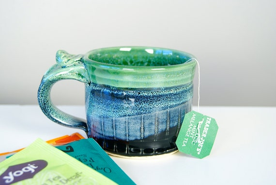 Mug, Coffee Mug, Tea Cup, Black Blue and Green