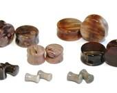 """Double Flared Petrified Wood Plugs - 8g, 6g, 4g, 2g, 0g, 00g, 7/16"""", 1/2"""", 9/16"""", 5/8"""", 3/4"""", 7/8, 1"""""""