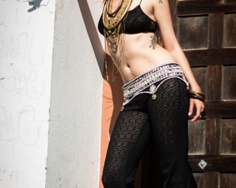 Burlesque lace pants  -Steampunk Steam punk Yoga Faery Fairy Pixie Boho Hippie Pants Burning man.Before 75 dollar NOW 45 dollar