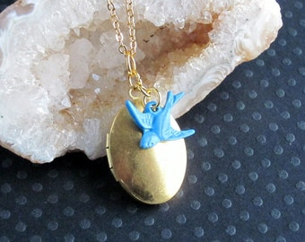 gold brass locket and blue sparrow antiqued necklace