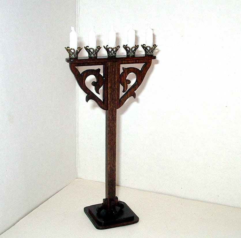 Candle Stand Medieval Floor Candles Dollhouse Miniature 1 12