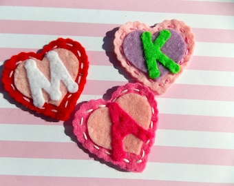 Initial Letter Felt Clippie Heart shaped For That special someone!!