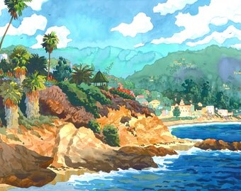 Laguna Beach Cliffs and Gazebo with Main Beach and Laguna Hotel and Lifeguard Stand