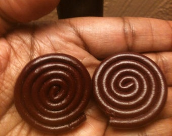 Leather button/stud burgundy earrings.(clip-ons)