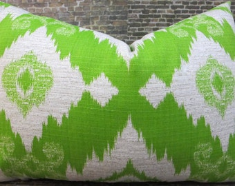 SALE Designer Lumbar Pillow Cover - 12 x 18, 12 x 16 - Outdoor Ikat Lime Green -