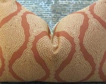 Designer Pillow Cover - 10 x 20, 12 x 16, 12 x 18, 12 x 20 - Nica Medallion Orange