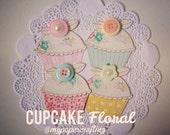 Cupcake paper cuts . paper scrapbooks . die cuts for cards . diy birthday card . party paper embellishments