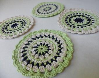 Crochet Coasters Set of 4, Doily Coasters
