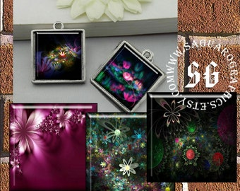 3D Folk Art Flowers - Digital Collage Sheets - 1.5, 1.0 inch Squares for Jewelry Makers, Pendants, Magnets, Arts & Crafts