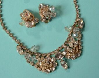 Vintage 1960s Rhinestone Juliana Necklace Earrings AB Crystal Bridal Fashions
