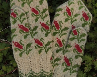 Finely Hand Knitted Seto (Estonian) Mittens - extra warm and windproof
