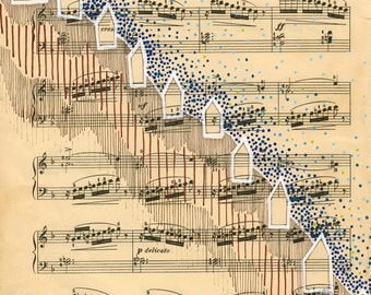 """Hill Town with Music: Original Mixed Media Drawing on vintage sheet music page 9""""x12"""" beige black brown white tan blue green modern art"""