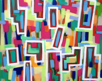 City Blocks Large Original Abstract Expressionist Painting on Canvas 36x36 modern art geometric red blue white pink grey green orange beige