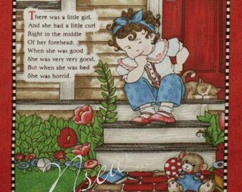 Mary Engelbreit Fabric Book Panel - Vol 2 Nursery Rhymes - Quilt blocks- Little Miss Muffet - Little Girl who had a Little Curl and more...