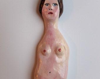 Original art clay sculpture doll figurine // NUDE GIRL 6 // wall hanging