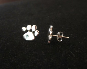 925 Sterling silver Cat Dog PAW PRINT earrings studs with Blue or Pink Swarovski crystals