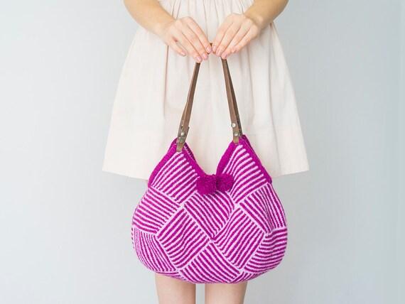 BAG  Fuchsia Bag  Felt Bag Felted Bag Knited Bag  Handmade Bag Shoulder Bag Tote bag Wool Bag
