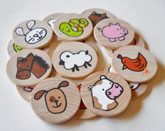 Memory Game, Farm Animals, Waldorf toy, Game, Stocking Stuffer