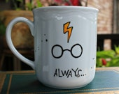 Made to Order Always Mug - Small or Med/Lg, WHITE mug painted with your choice of colors - Harry Potter, Owl, Lightning Bolt, Glasses