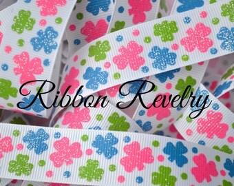 Pinch me hot pink, blue & green glitter shamrocks on 7/8 grosgrain ribbon- St Patricks day