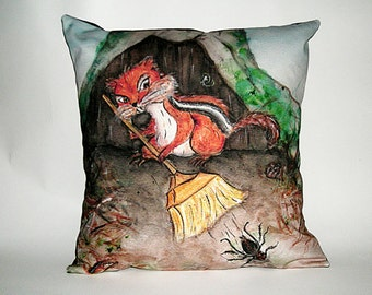 Children's Fairy Tale Pillow Cover - Chipmunk Spring Cleaning