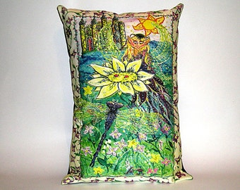 Children's Fairy Tale Pillow  - Fairy with Dragonfly