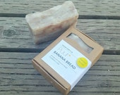 Banana Bread - VEGAN Handmade Soap Bar - Foodie Soap - Hot Process Exfoliating Soap with Cloves - Rustic Bath Bar - Olive oil Soap 5oz