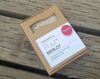 Merlot Wine Soap - Handmade Soap Bar - Vegan Castile Soap - Winery Soap - Red Wine Scented - Hot process 5 oz Soap Bar