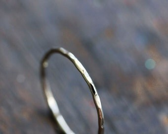 Thin white gold ring, solid 14k white gold, stacking ring, everyday jewelry, hammered, minimal, size 9.25 to 13
