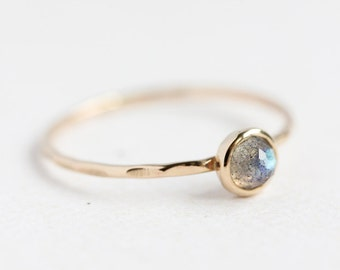 Solid gold and rose cut labradorite stacking ring, thin gold band, delicate, stack ring, size 4 to 9