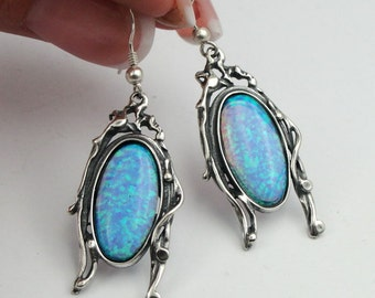 925 Elegant Opal Earrings, Handcrafted Silver Earrings, Blue Opal Earrings, Long Opal Earrings, Israel Jewelry, October birthstone(h 246)