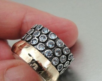 New Israel Fabulous Handmade 9k yellow Gold 925 sterling Silver Blue Topaz Ring 7.5 (I r551