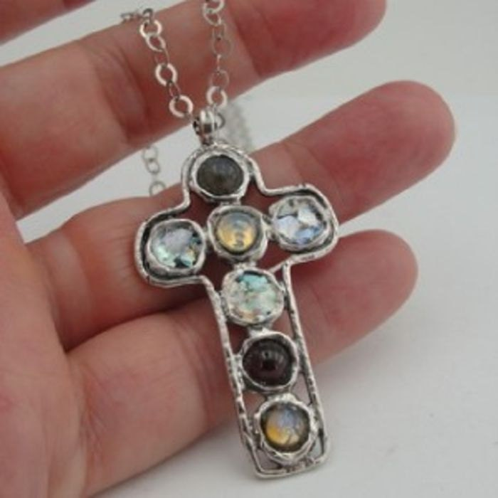 Hadar jewelry  Israel S Silver Genuine Antique Roman Glass Cross Pendant (as rg2)