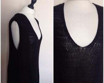 vintage 1990s black knitted vest top. UK 12