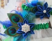 Peacock WEDDING Garter Set, Royal Blue Bridal Garter, Kelly Green & Royal Blue Garters, Prom 2016, Something Blue Bride