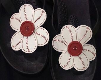 Baseball Flower Flip Flop Bows One Pair