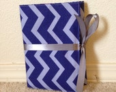 Purple Striped Chevron Personal Progress Book Organizer with Purple and Gray Lining Fabric