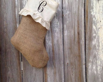 Burlap Frill Monogrammed Christmas Stocking - Single Letter Monogram
