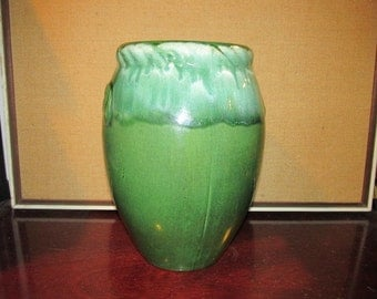 """Antique Arts and Crafts Nelson McCoy Sculpted Handle Large Decorative Vase American Art Pottery 11 1/2"""" Tall"""