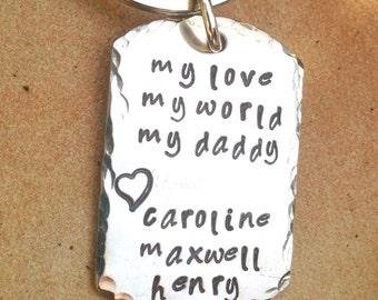 Father's Day Keychain, Personalized Keychain For Dad,  Hand Stamped Keychain, Boyfriend Gift, Personalized Custom Keychain, natashaaloha