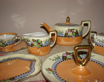 Vintage Antique Tea Set Art Deco Lustreware Tea Set Tea Pot Saucers and Cups Tea Party