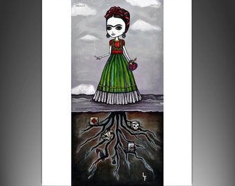 Frida Kahlo Roots Beneath Me 8x10 art print by Lupe Flores
