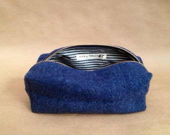 Small Toiletry Bag (3 Colors Avail) - Military Blanket & Waxed Seersucker