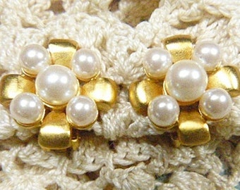 Vintage Gold and Pearl GIVENCHY Clip Earrings - V-EAR-600 - Pearl Clip Earrings - Pearl Earrings