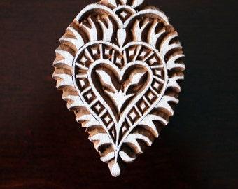 ON SALE Hand Carved Indian Wood Textile Stamp Block- Heart Floral Motif