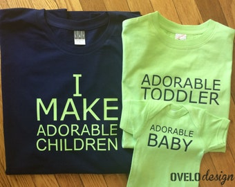 I Make Adorable Children for new Mom or Dad pictured in Navy Lime combo